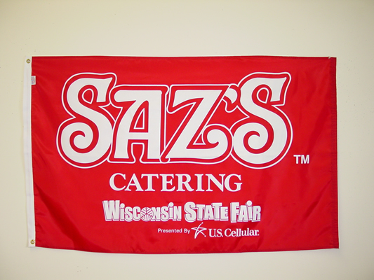 Sazs Catering on Red Screen Print Flag.jpg