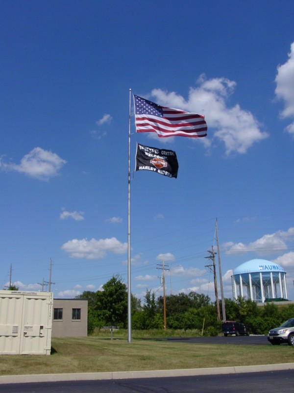 Flag Center Welcomes Harley Riders 10x15 Big Flag.JPG