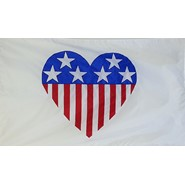 Patriotic Heart (On White) Flag