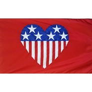 Patriotic Heart (On Red) Flag