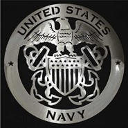 Navy Steel Sign Art