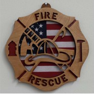 Fire Rescue Wood Plaque 8in