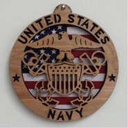 Navy Wood Plaque 8in