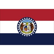 4x6in Mounted Missouri Flag