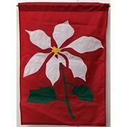 White Poinsettia 28x40in Applique Banner