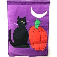 Black Cat and Pumpkin 28x40in Applique Banner