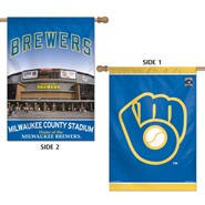"Brewers 2 Sided County Stadium 28""x40"" Banner"
