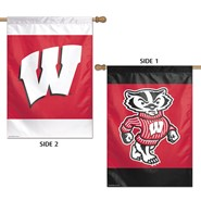 """Wisconsin Univ 2 Sided Bucky and W 28""""x40"""" Banner"""