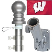 Wisconsin Univ 3x5ft Spinning Flagpole Set