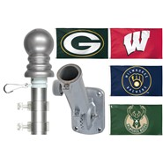 Packer/Badger/Brewer/Bucks 3x5ft Spinning Flagpole Set