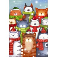 Cat Caroling 12x18in Garden Flag