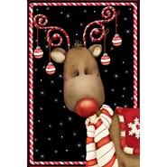 Candy Cane Reindeer 12x18in Garden Flag