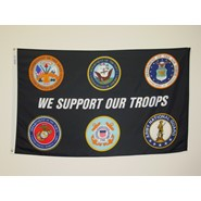 Support our Troops Black Nylon Flag