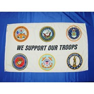 Support our Troops 3x5ft White Nylon Flag